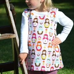 "Girls Cross Back Pinafore Dress ""Babushka Garden"" size 000 - 3 summer winter"