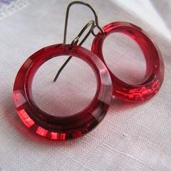 Vintage Red Lucite Hoops - Vintaj Earrings
