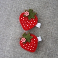 Strawberry hair clip, red, green, white grosgrain ribbon covered clip