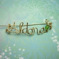 Handmade Personalised Wire Name/Word Brooch Gold or Silver Crystal Beads