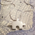 Puzzle - Handmade Sterling Silver Pendant with Snake Chain