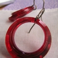 Vintage Red Lucite Hoops - Vintaj Earrings