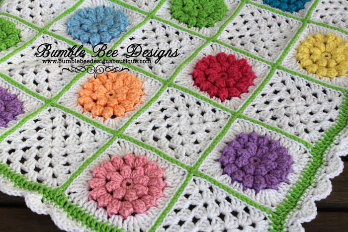 Crochet Flower Granny Square Blanket Pattern : Boutique Hand Crocheted Girls Flower Granny Square Baby ...