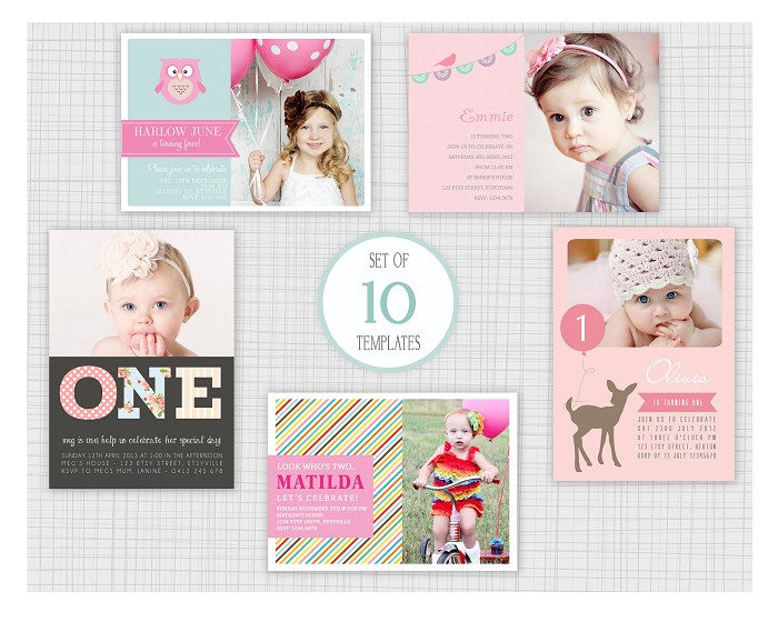 PSD Kids Birthday Party Invitation Templates Mini Pack - Birthday invitation photoshop template