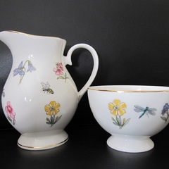 Jug and sugar bowl with flowers and bugs