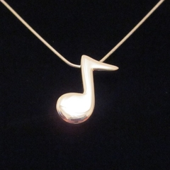 Note - Handmade Sterling Silver Pendant with Snake Chain