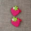 Set of 2, Strawberry hair clip, hot pink with grosgrain ribbon covered clip