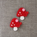 Toadstool hair clip, red, grosgrain ribbon covered clip, forest
