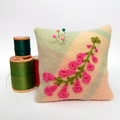 Square Embroidered Pin Cushion with Australian Native Flower Pink Heath