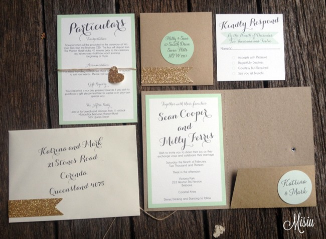 mint and glitter gold pocket folder wedding invitation set | misiu, Wedding invitations