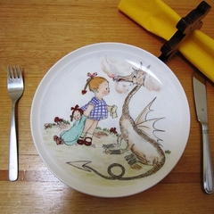 Baby present - girl and Dragon who has lost his fire, hand painted plate!