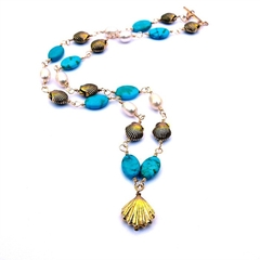 Gold Sea Shells with Pearls andTurquoise