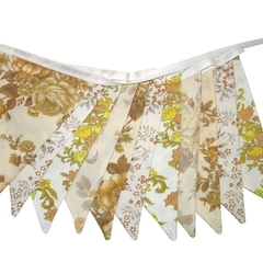 Vintage Bunting - Brown / Mustard & Lace Floral Flags. Garden Party Decoration