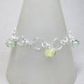 Prehnite charm sterling silver bracelet