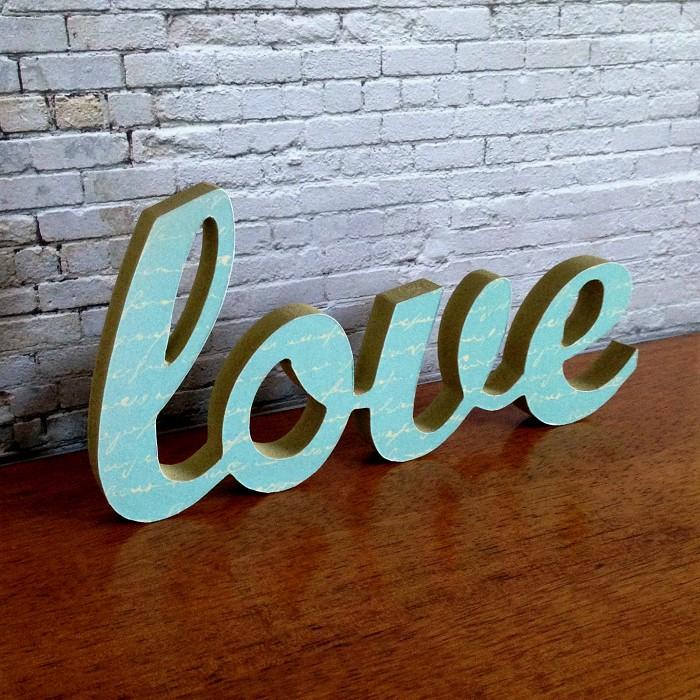 Love Letter Wooden Freestanding Script Word Sign Plaque