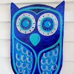 Deep blue, silver and pale blue large wooden owl art. Free Shipping!