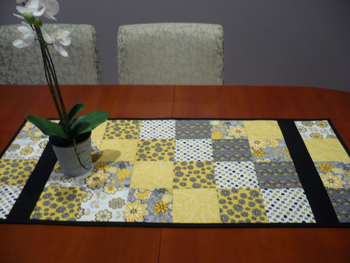 Patchwork Table Runner Yellow& Grey The Patcherie on Madeit