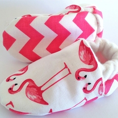 """Baby shoes bamboo fleece. """"Kitschy"""" stay on/soft soled warm quirky little soles."""