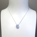 Simplicity- Blue Chalcedony bead on short silk necklace