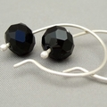 Black Opaque Czech Glass Sterling Silver Modern Contemporary Hoop Earrings