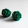 Little Green Rose Floral Earrings