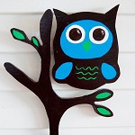 Owl sitting on a Tree, Wooden art Room Decor, brown and blue.Free Shipping!
