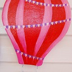 Pale pink and red hot air balloon wooden art. Free Shipping!