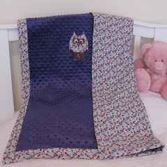Owl snuggle blanket - purple/white/pink