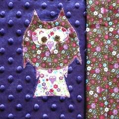 Owl snuggle blanket - purple/brown/pink