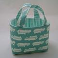 Fabric Storage Basket -  white hippos on turquoise - for Ileana -
