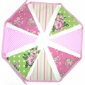 Roses Bunting - Modern Floral Country Style Flags. Pink Green Decoration