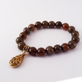 Dragon Vein Agate Bracelet with Gold Ornate Drop