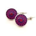 Earrings - Pink & purple floral wheels - Vintage patterns in resin