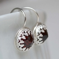 Almandite Garnet & Sterling Silver earrings. Gemstone Earrings.