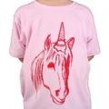Uni-cone (unicorn/ice-cream cone) pink hand printed t-shirt