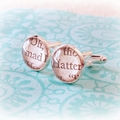 Mad Hatter Cuff Links Cufflinks Vintage Wedding Groom Alice in Wonderland Father