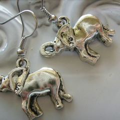 silver tone Elephant earrings charm earring elephants