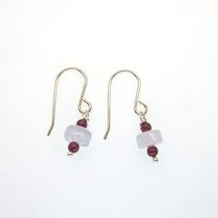 Garnet & blue chalcedony beads sterling silver earrings