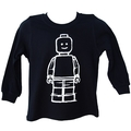 Navy Lego minifigure inspired long sleeved t-shirt