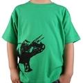 Triceratops/dinosaur green hand printed t-shirt