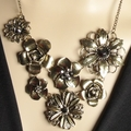 Bronze Flowers Rhinestone Necklace + FREE GIFT BAG