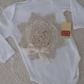 Vintage Rosette Onesie - Baby Girls White Size 000, 00 & 0