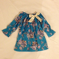 winter dress blue cabbage rose sz 4/5