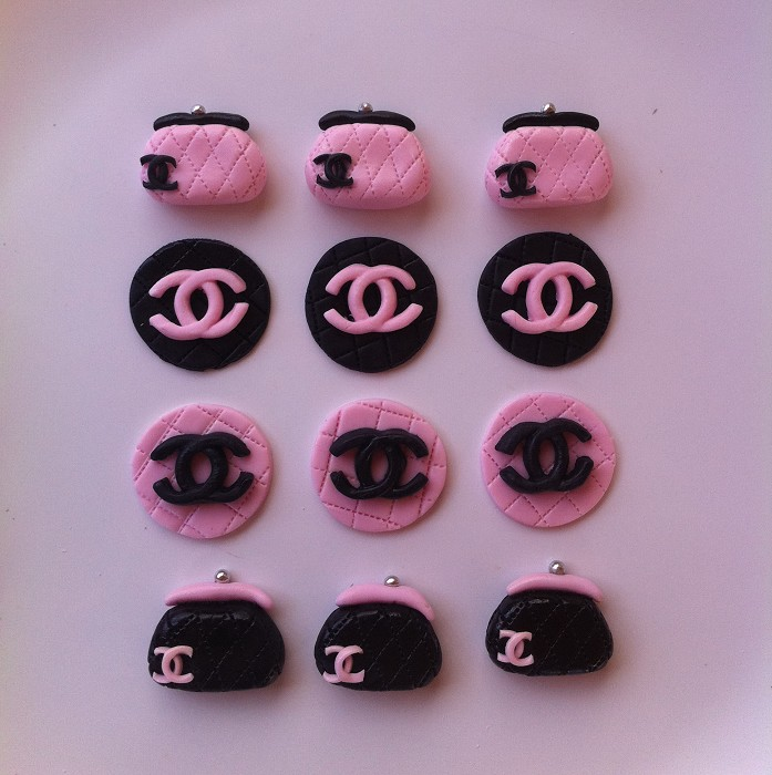 Chanel Nail Polish Cake: Chanel Handbag Cupcake Toppers