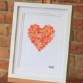 Hand-stitched Artwork! Orange Love Heart Button Art.
