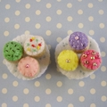 Miniature Felt Cupcakes - tiny felt food inside a matchbox