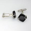 Australian Black Jade and sterling silver cuff-links