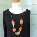 Resin bead double layer necklace in Hot Pink, Orange and Frost White coins