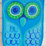 Gorgeous pale blue and green wooden owl art. Free Shipping!
