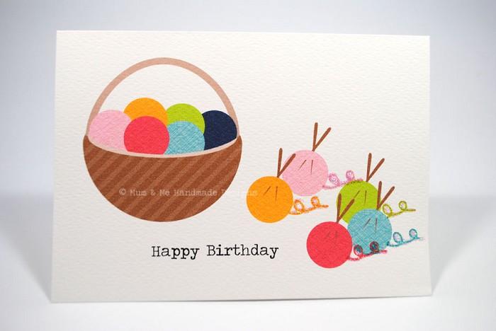 Knitting Birthday Card : Birthday card female knitting wool yarn hbf mum